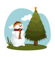happy merry christmas snowman card vector image