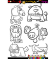 cartoon dogs set for coloring book vector image