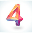 Number four in modern polygonal crystal style vector image