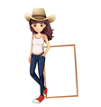 A girl with a hat standing in front of the empty vector image vector image