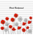Abstract red and gray poppy flowers vector image