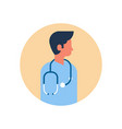 asian man medical doctor stethoscope profile icon vector image