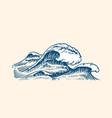 atlantic tidal waves vintage old engraved hand vector image vector image