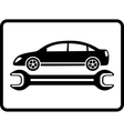 auto service icon with car and wrench vector image vector image