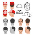 baseball tennis rap cap and man head set vector image vector image