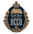 beer label with wheat ears hops barrel and crown vector image vector image