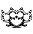 brass knuckles black and white violence and vector image vector image