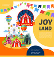 cartoon amusement park template vector image