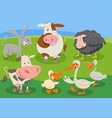 cartoon farm animal characters group vector image vector image