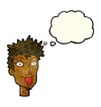 cartoon man sticking out tongue with thought vector image