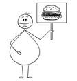 cartoon smiling obese or overweight man vector image vector image