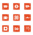 cash drawer icons set grunge style vector image vector image