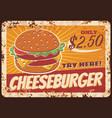 cheeseburger fast food rusty metal plate vector image vector image