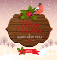 Christmas signboard with holly berry and bullfinch vector image vector image