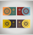colorful ornamental template for business card vector image vector image