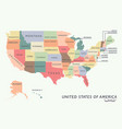 colorful usa map with name of states vector image vector image