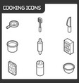 cooking outline isometric icons vector image vector image