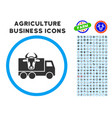 cow transportation rounded icon with set vector image