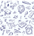 Creative seamless school pattern with pen drawings vector image vector image