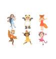 cute happy kids dressed animal costumes set vector image vector image