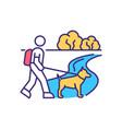 dog walking rgb color icon vector image