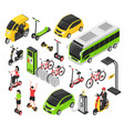 eco transport isometric set vector image