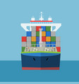 empty cargo container ship with front view vector image