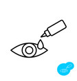 eye drops bottle with eye apply thin line icon vector image