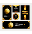 Gold christmas card template set of holiday design vector image