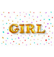 gold letter girl shine glossy metalic balloons vector image