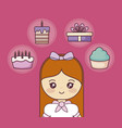 happy birthday with little girl and set icons vector image vector image