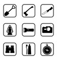 hiking and camping icons on white background vector image vector image