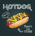 hotdog hand drawn hot dog hot dog poster vector image vector image