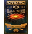 Invitation to halloween party with bats bones vector image