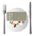 Isolated of fork knife and pills vector image
