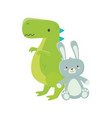 kids toy green dinosaur and cute rabbit toys vector image