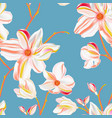 magnolia blue seamless pattern repetition floral vector image vector image