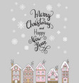 merry christmas congratulation card with houses vector image