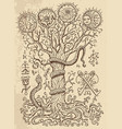 Mystic drawing with spiritual tree