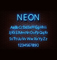 neon letter alphabet sign blue font light vector image