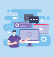 online training man with computer video class vector image