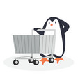 penguin with shopping cart vector image vector image