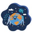 people hugging planet over vector image vector image
