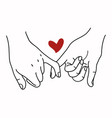pinky promise outline with red heart concept vector image vector image