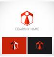 polygon business company logo vector image