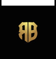 rb logo monogram with gold colors and shield vector image vector image
