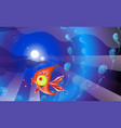 red plastic toy fish and background in blue tones vector image vector image