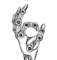 robot hand engraving vector image vector image