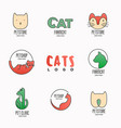 set of colorful logotypes with cats for vet clinic vector image vector image