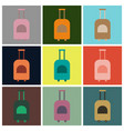 set of icons in flat design for airport suitcase vector image vector image